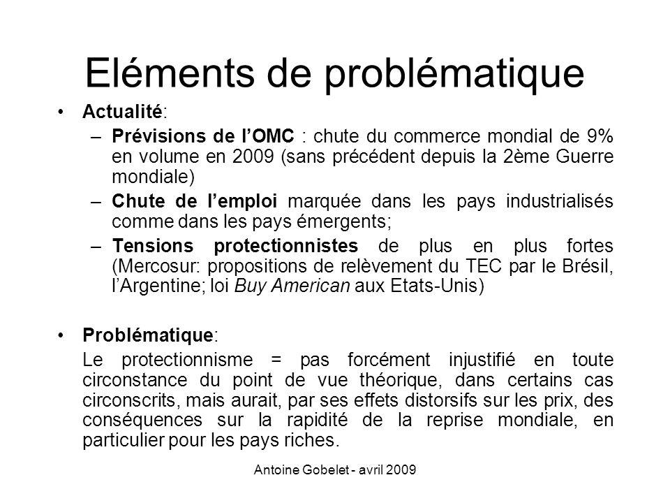 Antoine Gobelet - avril 2009 Eléments de problématique Actualité: –Prévisions de lOMC : chute du commerce mondial de 9% en volume en 2009 (sans précéd