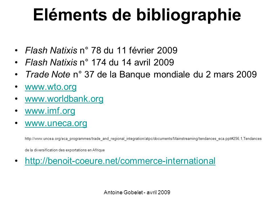 Antoine Gobelet - avril 2009 Eléments de bibliographie Flash Natixis n° 78 du 11 février 2009 Flash Natixis n° 174 du 14 avril 2009 Trade Note n° 37 d
