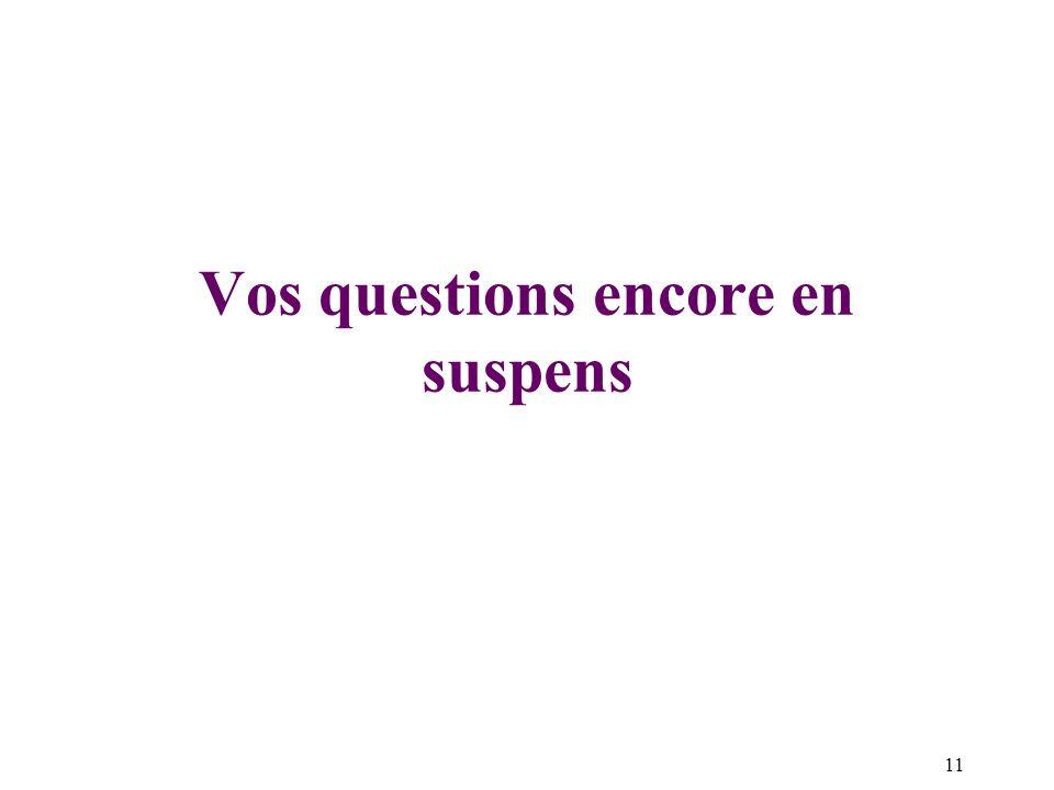 11 Vos questions encore en suspens