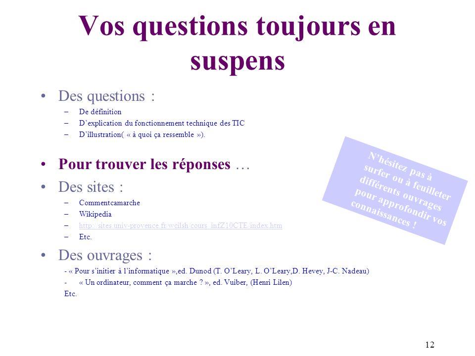 12 Vos questions toujours en suspens Des questions : –De définition –Dexplication du fonctionnement technique des TIC –Dillustration( « à quoi ça ressemble »).