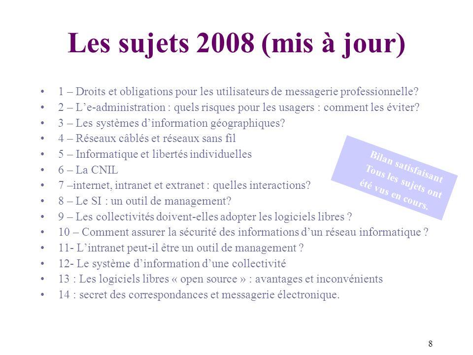 8 Les sujets 2008 (mis à jour) 1 – Droits et obligations pour les utilisateurs de messagerie professionnelle.