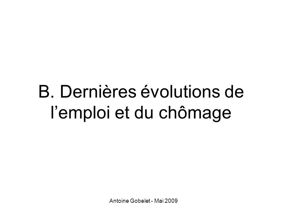 Antoine Gobelet - Mai 2009 B. Dernières évolutions de lemploi et du chômage