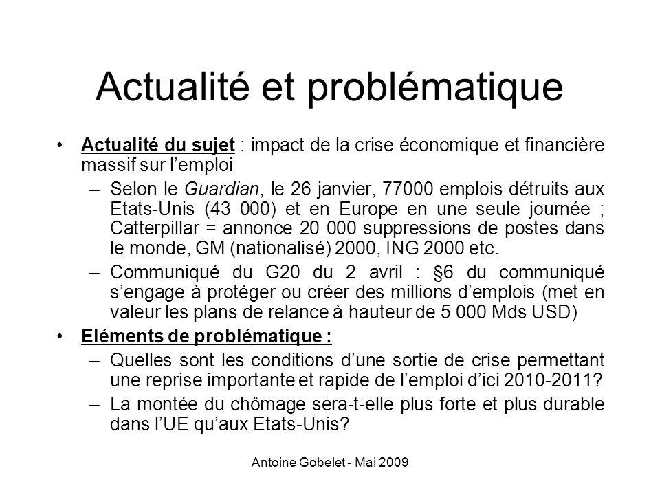 Antoine Gobelet - Mai 2009 Lutter contre la pauvreté au travail En 2004 (INSEE), 6,7% des actifs sous le seuil de 60% du revenu médian ; 1,6 million dactifs pauvres RSA: remplace la PPE, instaurée en 2001 (crédit dimpôt pour les revenus dactivité entre 0,3 et 1,4 SMIC ETP), dont le taux de base était de 4,4 % du salaire net de prime, revalorisé à 7,7% aujourdhui
