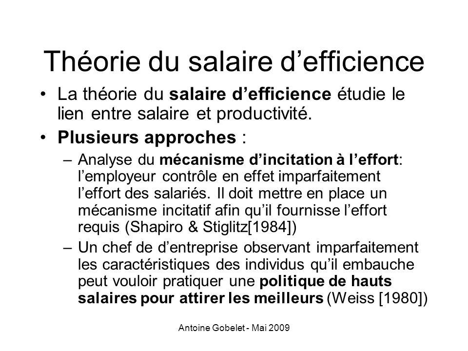 Antoine Gobelet - Mai 2009 Théorie du salaire defficience La théorie du salaire defficience étudie le lien entre salaire et productivité. Plusieurs ap