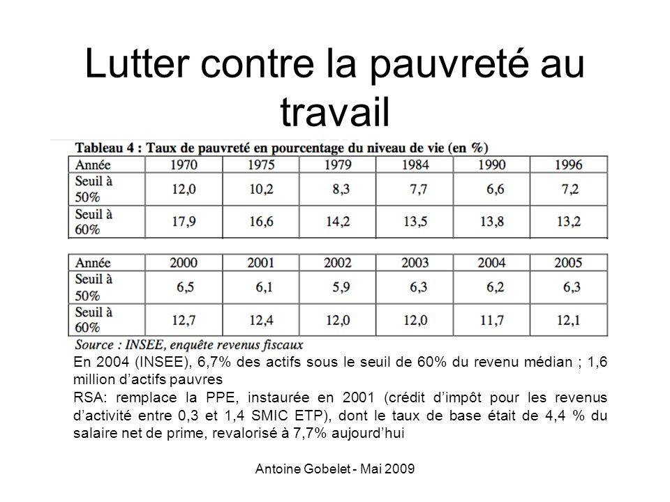 Antoine Gobelet - Mai 2009 Lutter contre la pauvreté au travail En 2004 (INSEE), 6,7% des actifs sous le seuil de 60% du revenu médian ; 1,6 million d