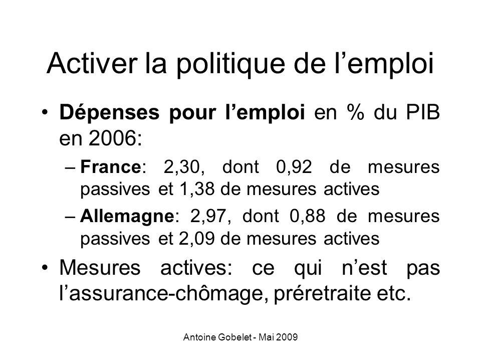 Antoine Gobelet - Mai 2009 Activer la politique de lemploi Dépenses pour lemploi en % du PIB en 2006: –France: 2,30, dont 0,92 de mesures passives et