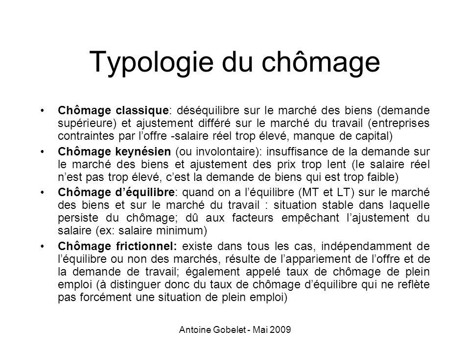 Antoine Gobelet - Mai 2009 Typologie du chômage Chômage classique: déséquilibre sur le marché des biens (demande supérieure) et ajustement différé sur