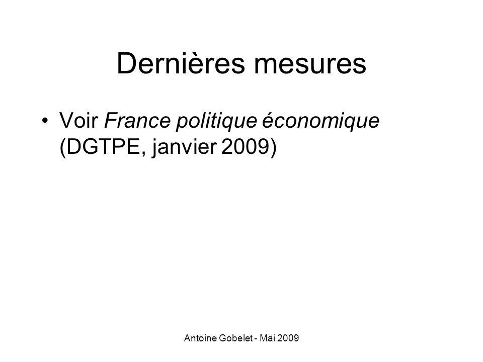 Antoine Gobelet - Mai 2009 Dernières mesures Voir France politique économique (DGTPE, janvier 2009)