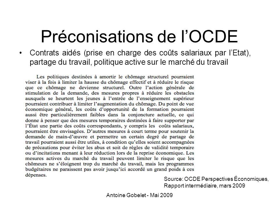 Antoine Gobelet - Mai 2009 Préconisations de lOCDE Contrats aidés (prise en charge des coûts salariaux par lEtat), partage du travail, politique activ