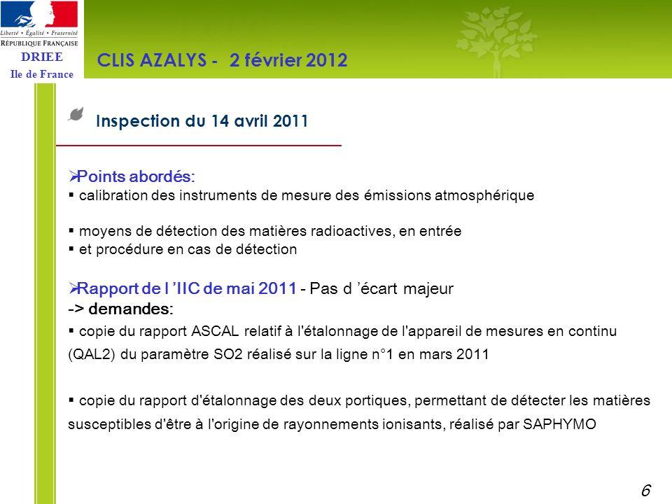 DRIEE Ile de France Comparatif des résultats de surveillance dans l environnement d UIOM (métaux) CLIS AZALYS - 2 février 2012 Résultats pris en compte : NOVERGIE, Carrières-sous-Poissy (jauges) NOVERGIE, Carrières-sur-Seine (jauges) VALENE, Guerville (sol) CNIM, Thiverval-Grignon (jauges) 7
