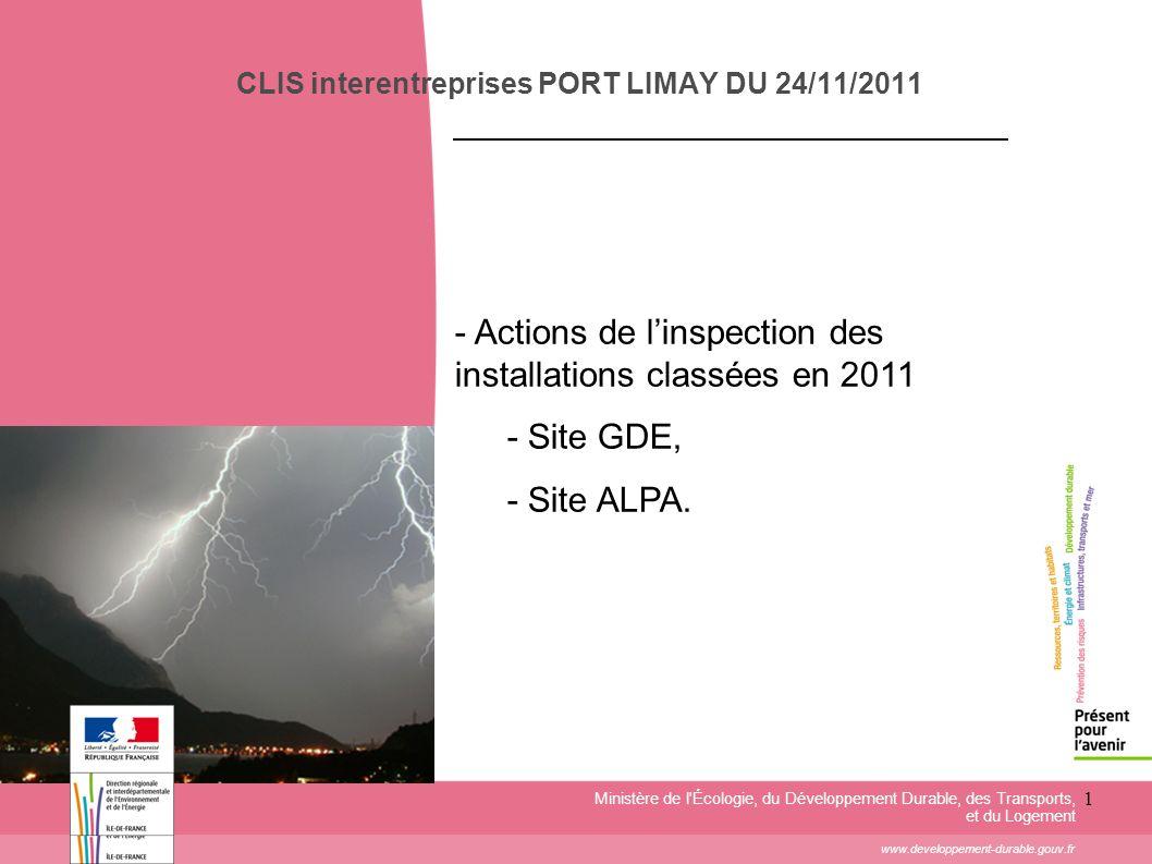 1 CLIS interentreprises PORT LIMAY DU 24/11/2011 Ministère de l'Écologie, du Développement Durable, des Transports, et du Logement www.developpement-d