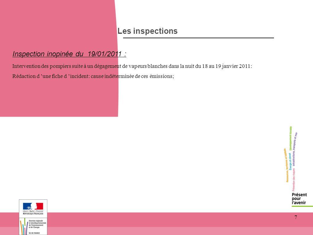 7 Les inspections Inspection inopinée du 19/01/2011 : Intervention des pompiers suite à un dégagement de vapeurs blanches dans la nuit du 18 au 19 jan