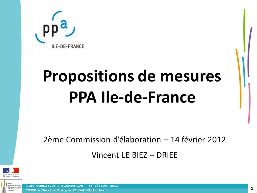 1 DRIEE – Service Énergie Climat Véhicules 2ème COMMISSION DELABORATION – 14 février 2012 Propositions de mesures PPA Ile-de-France 2ème Commission dé