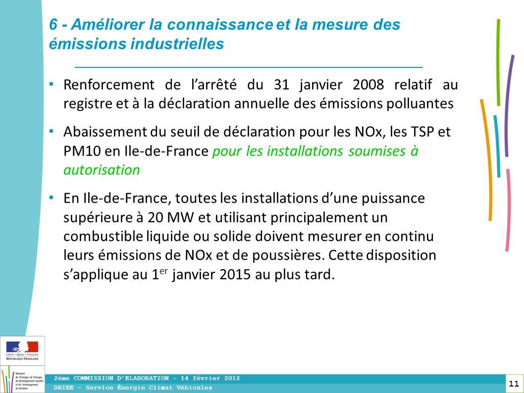 11 Renforcement de larrêté du 31 janvier 2008 relatif au registre et à la déclaration annuelle des émissions polluantes Abaissement du seuil de déclar