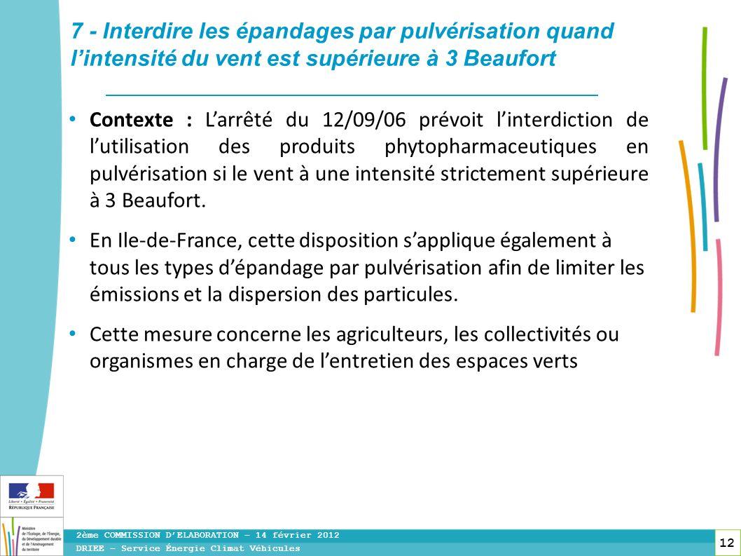 12 Contexte : Larrêté du 12/09/06 prévoit linterdiction de lutilisation des produits phytopharmaceutiques en pulvérisation si le vent à une intensité