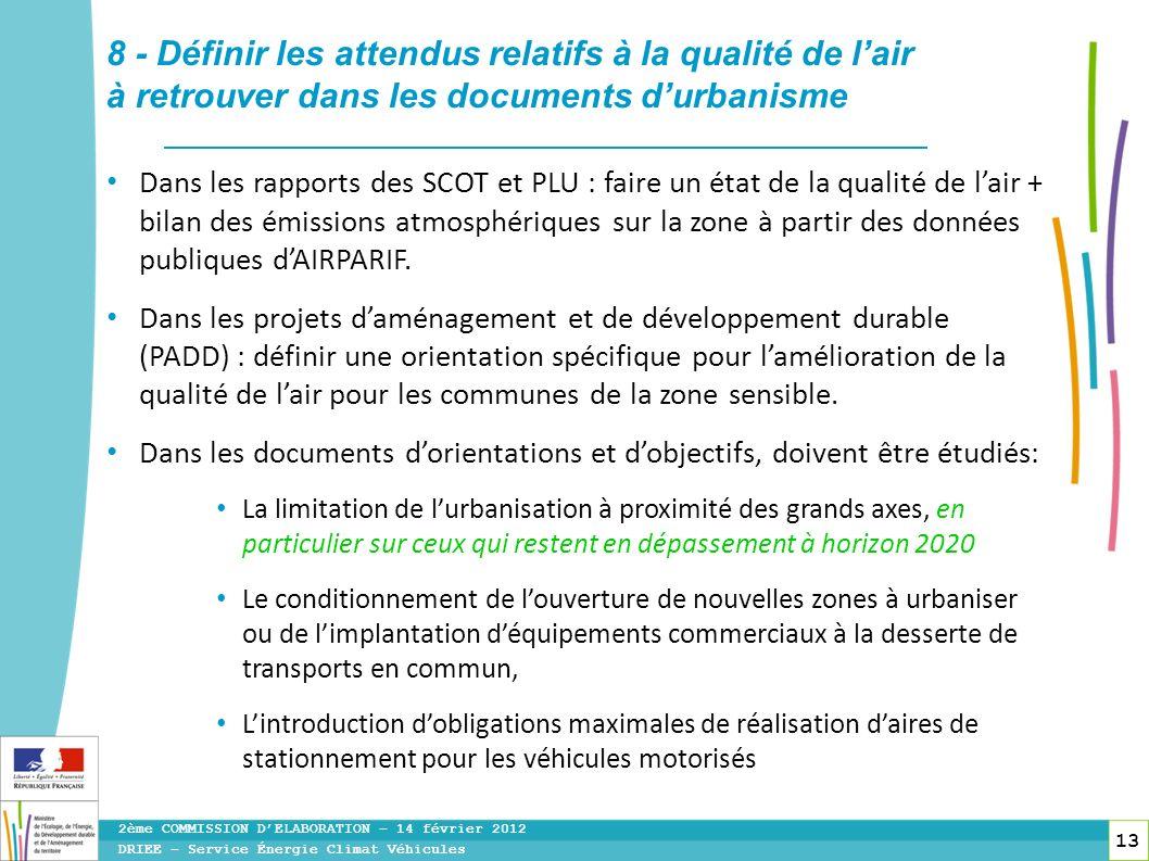 13 Dans les rapports des SCOT et PLU : faire un état de la qualité de lair + bilan des émissions atmosphériques sur la zone à partir des données publi