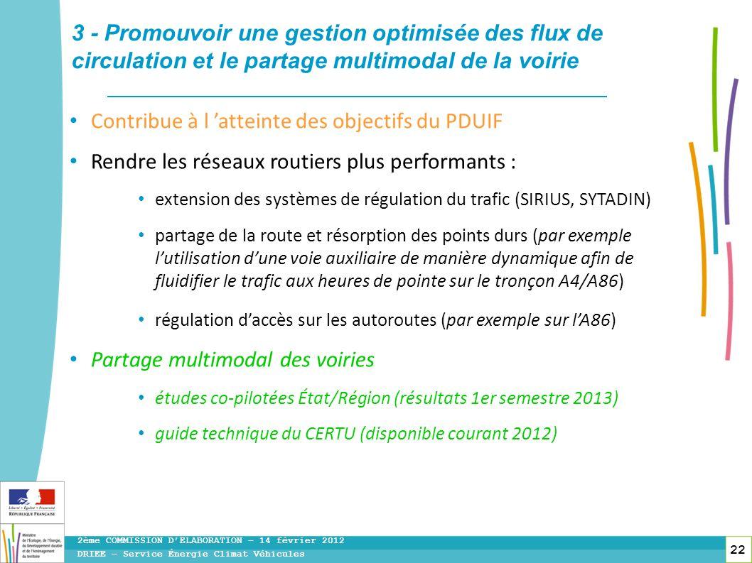 22 DRIEE – Service Énergie Climat Véhicules 2ème COMMISSION DELABORATION – 14 février 2012 3 - Promouvoir une gestion optimisée des flux de circulatio