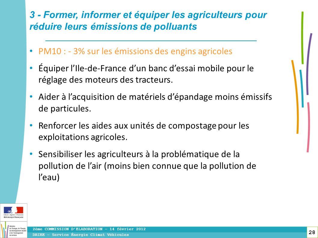 28 PM10 : - 3% sur les émissions des engins agricoles Équiper lIle-de-France dun banc dessai mobile pour le réglage des moteurs des tracteurs. Aider à