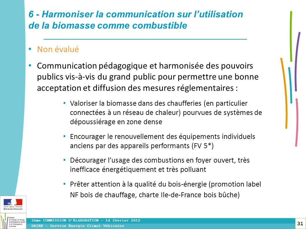 31 6 - Harmoniser la communication sur lutilisation de la biomasse comme combustible Non évalué Communication pédagogique et harmonisée des pouvoirs p