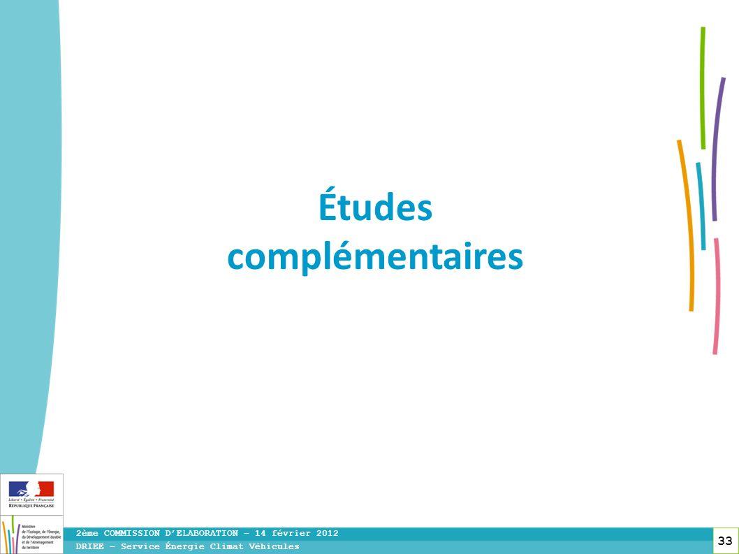 33 DRIEE – Service Énergie Climat Véhicules 2ème COMMISSION DELABORATION – 14 février 2012 Études complémentaires