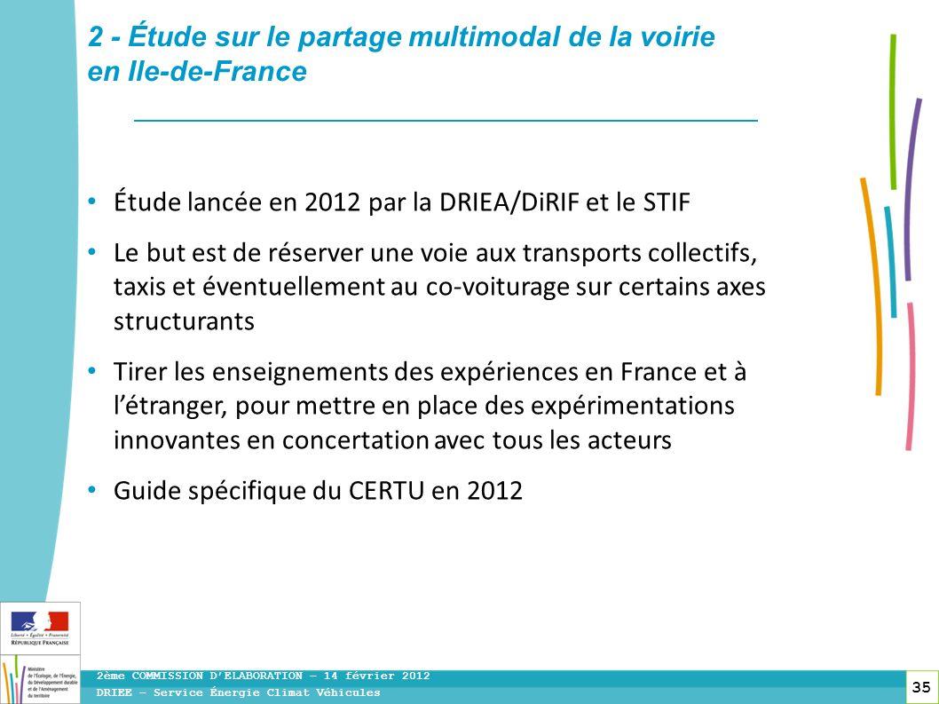 35 DRIEE – Service Énergie Climat Véhicules 2ème COMMISSION DELABORATION – 14 février 2012 2 - Étude sur le partage multimodal de la voirie en Ile-de-