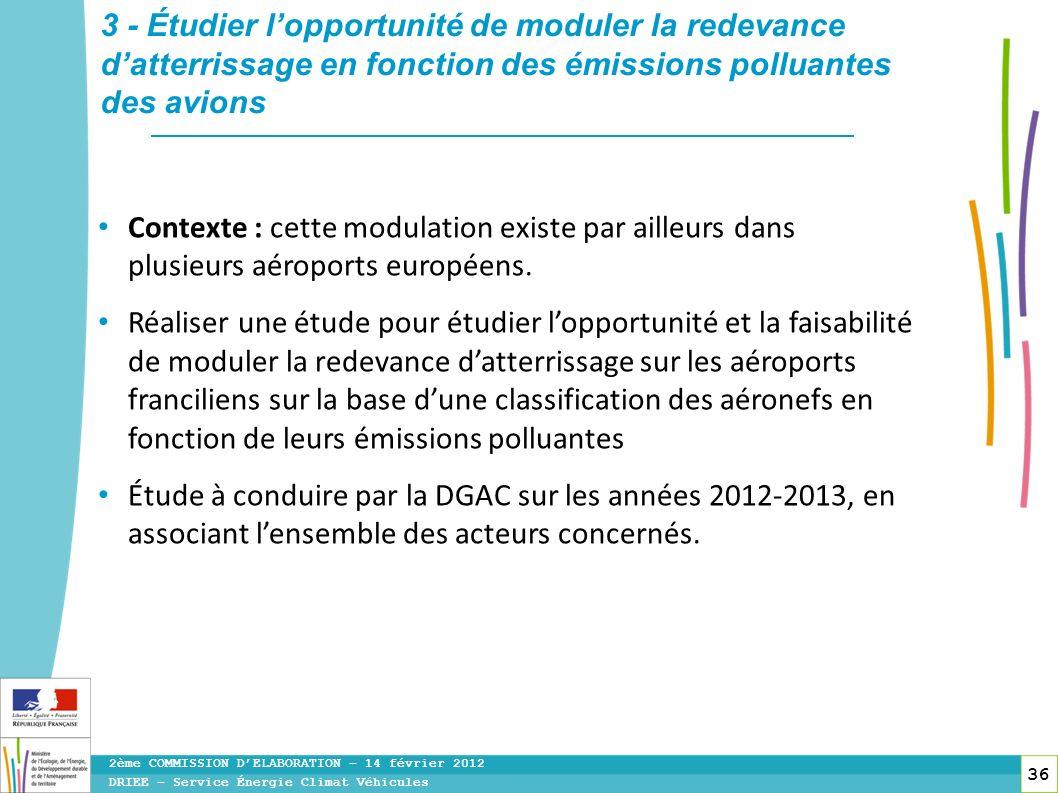 36 Contexte : cette modulation existe par ailleurs dans plusieurs aéroports européens. Réaliser une étude pour étudier lopportunité et la faisabilité