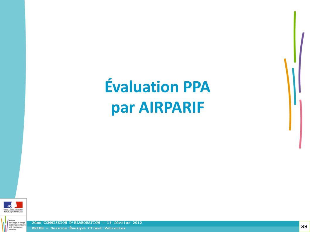 38 DRIEE – Service Énergie Climat Véhicules 2ème COMMISSION DELABORATION – 14 février 2012 Évaluation PPA par AIRPARIF