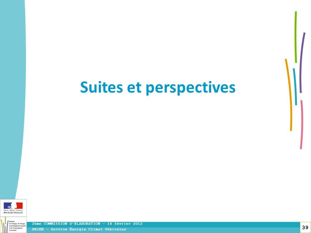 39 DRIEE – Service Énergie Climat Véhicules 2ème COMMISSION DELABORATION – 14 février 2012 Suites et perspectives