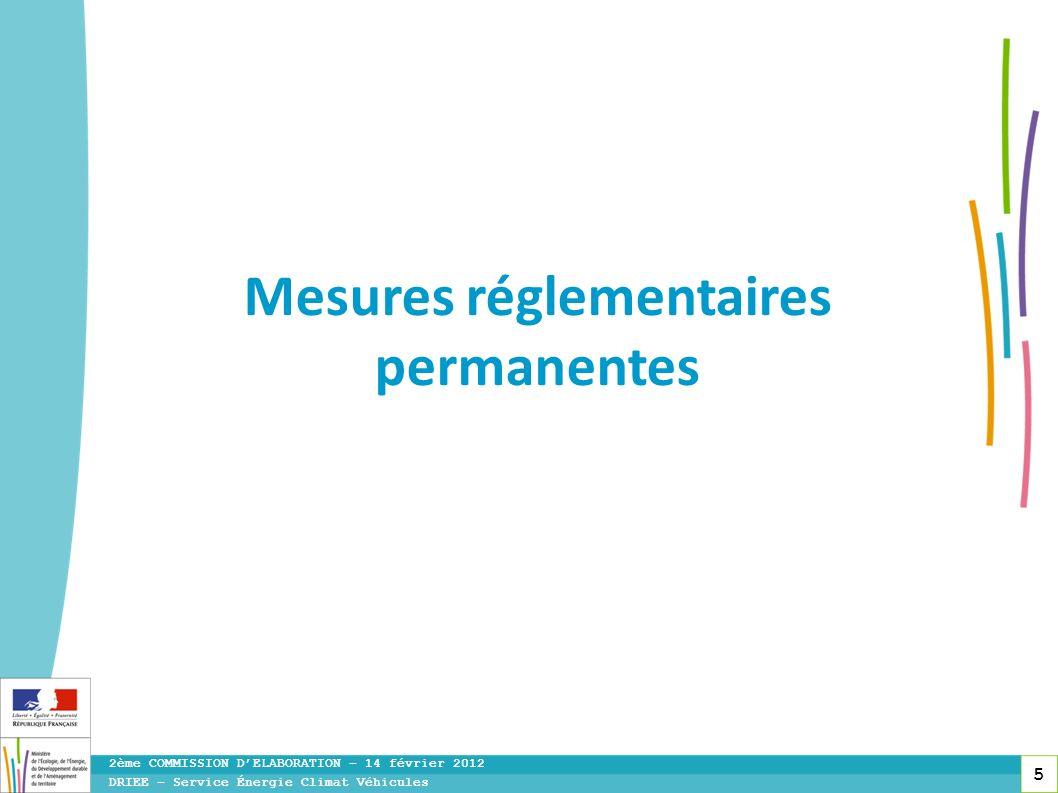 5 DRIEE – Service Énergie Climat Véhicules 2ème COMMISSION DELABORATION – 14 février 2012 Mesures réglementaires permanentes