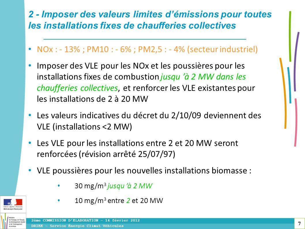 7 NOx : - 13% ; PM10 : - 6% ; PM2,5 : - 4% (secteur industriel) Imposer des VLE pour les NOx et les poussières pour les installations fixes de combust