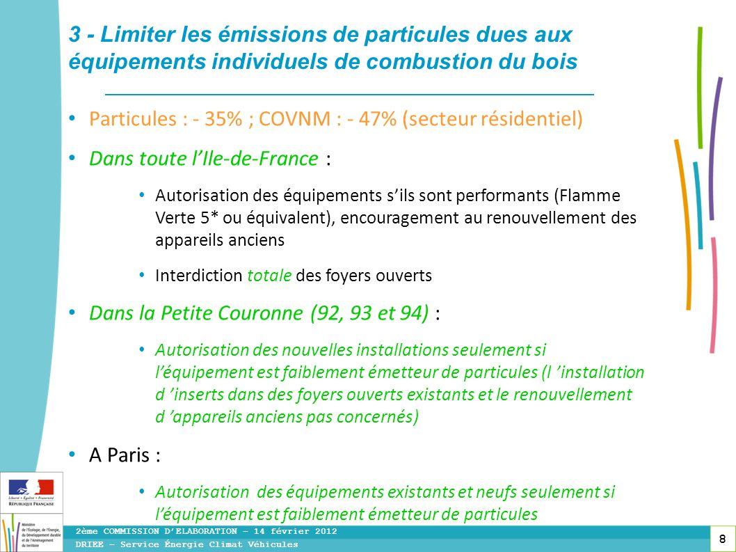 8 Particules : - 35% ; COVNM : - 47% (secteur résidentiel) Dans toute lIle-de-France : Autorisation des équipements sils sont performants (Flamme Vert