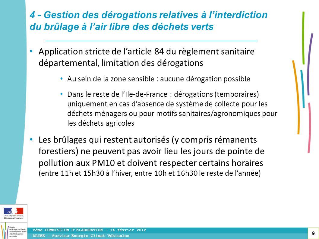 9 Application stricte de larticle 84 du règlement sanitaire départemental, limitation des dérogations Au sein de la zone sensible : aucune dérogation