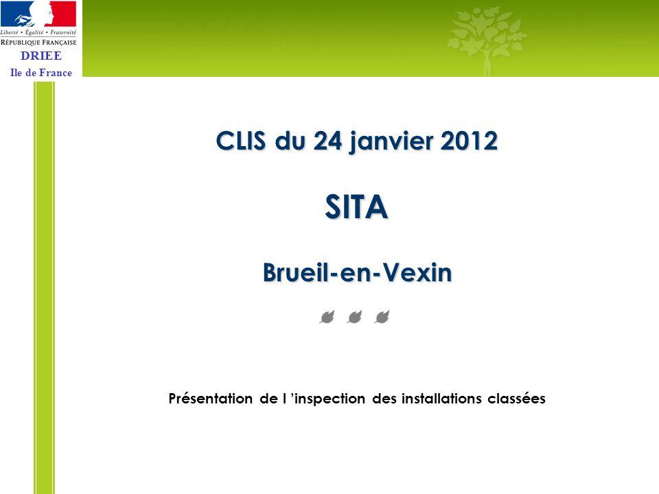 DRIEE Ile de France CLIS du 24 janvier 2012 SITA Brueil-en-Vexin Présentation de l inspection des installations classées