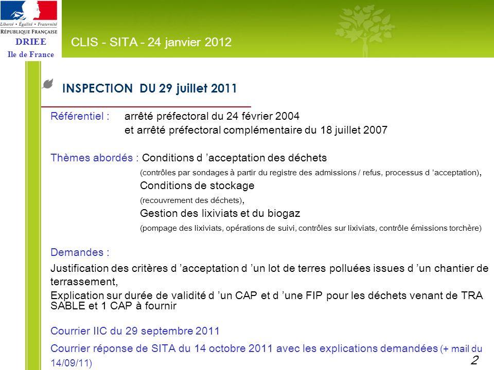 DRIEE Ile de France INSPECTION DU 29 juillet 2011 CLIS - SITA - 24 janvier 2012 Référentiel :arrêté préfectoral du 24 février 2004 et arrêté préfector