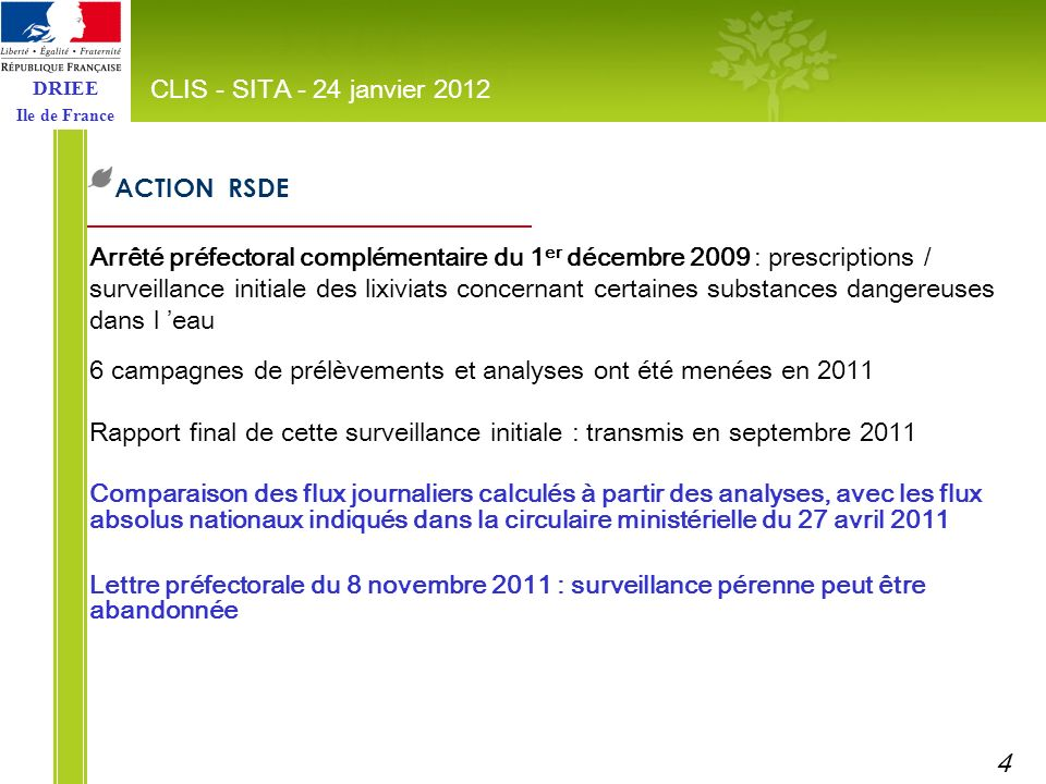 DRIEE Ile de France ACTION RSDE CLIS - SITA - 24 janvier 2012 Arrêté préfectoral complémentaire du 1 er décembre 2009 : prescriptions / surveillance i