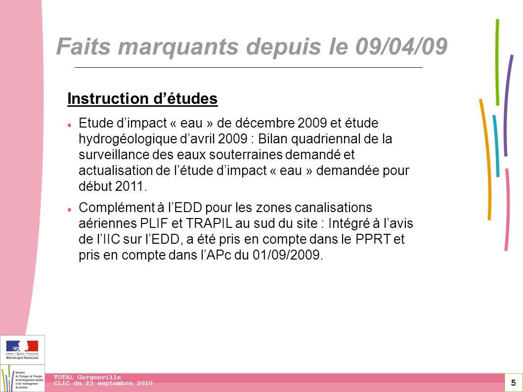 5 CLIC du 23 septembre 2010 TOTAL Gargenville Faits marquants depuis le 09/04/09 Instruction détudes Etude dimpact « eau » de décembre 2009 et étude h