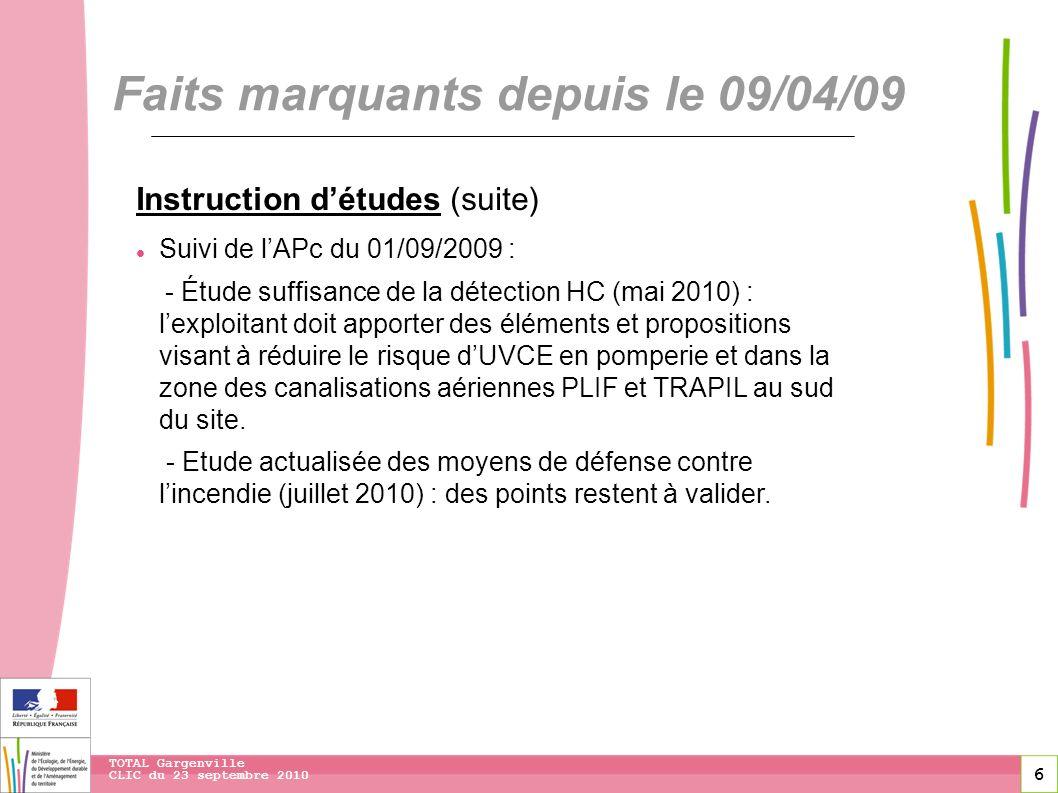 6 CLIC du 23 septembre 2010 TOTAL Gargenville Faits marquants depuis le 09/04/09 Instruction détudes (suite) Suivi de lAPc du 01/09/2009 : - Étude suf