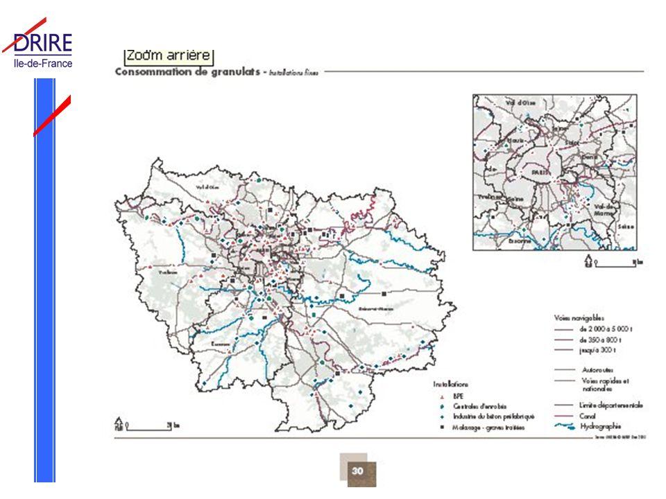 Réunion Commission Départementale des Carrières du Val d Oise le 3 juin 2005 Conclusion : approvisionnement Difficultés à maintenir les productions de gypse et sablons - 1,5 Mt en 1994 à 1,27 Mt en 2004 pour le gypse - 1,05 Mt en 1993 à 0,843 Mt en 2004 pour le sablon Développement du recyclage - 350 kt/an de bétons de démolition recyclés - 100 kt/an de machefers recyclés Le Val d Oise reste très déficitaire (-1,2 Mt) pour son approvisionnement en granulats pour le BTP et sera affecté par la baisse de production des départements et régions périphériques