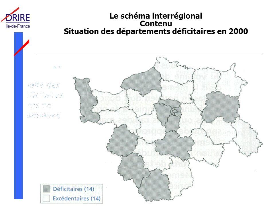 Réunion Commission Départementale des Carrières du Val d Oise le 3 juin 2005 Le schéma interrégional Contenu Situation des départements déficitaires en 2000