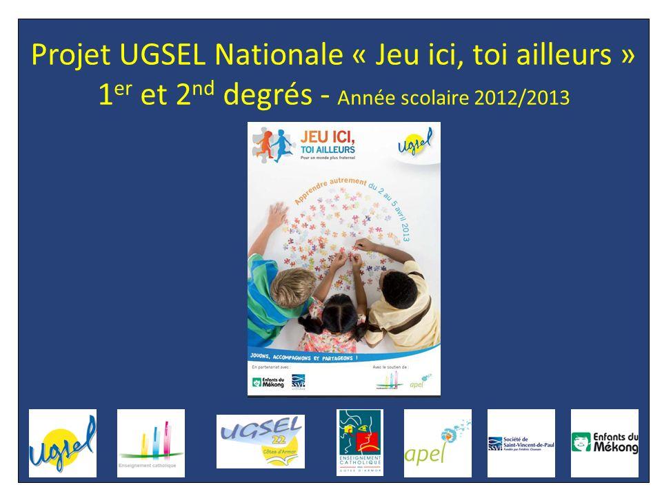 1 er et 2 nd degrés – Projet UGSEL Nationale « JEU ICI, TOI AILLEURS » PRESENTATION DU PROJET