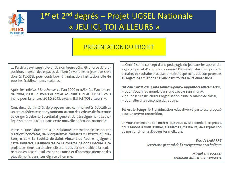 1 er et 2 nd degrés – Projet UGSEL Nationale « JEU ICI, TOI AILLEURS » FINALITES DU PROJET