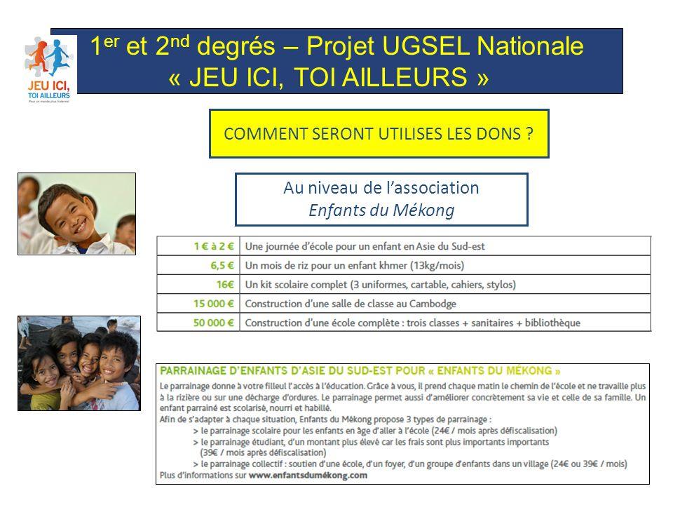 1 er et 2 nd degrés – Projet UGSEL Nationale « JEU ICI, TOI AILLEURS » Au niveau de lassociation Société de Saint-Vincent-de-Paul COMMENT SERONT UTILISES LES DONS ?