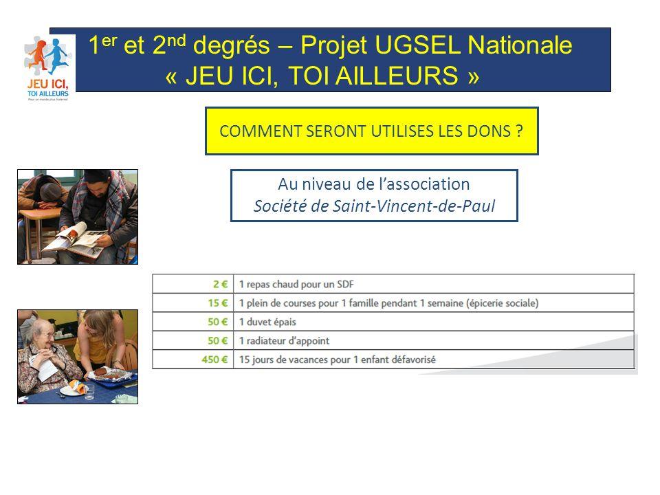 1 er et 2 nd degrés – Projet UGSEL Nationale « JEU ICI, TOI AILLEURS » Au niveau de lassociation Société de Saint-Vincent-de-Paul COMMENT SERONT UTILISES LES DONS