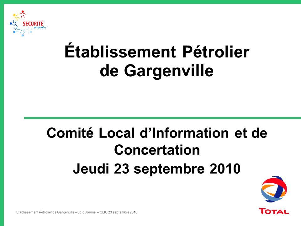 Etablissement Pétrolier de Gargenville – Loïc Journel – CLIC 23 septembre 2010 Comité Local dInformation et de Concertation Jeudi 23 septembre 2010 Ét