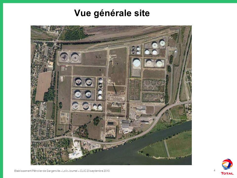 Etablissement Pétrolier de Gargenville – Loïc Journel – CLIC 23 septembre 2010 4 Vue générale site