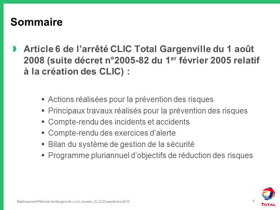 Etablissement Pétrolier de Gargenville – Loïc Journel – CLIC 23 septembre 2010 9 Sommaire Article 6 de larrêté CLIC Total Gargenville du 1 août 2008 (