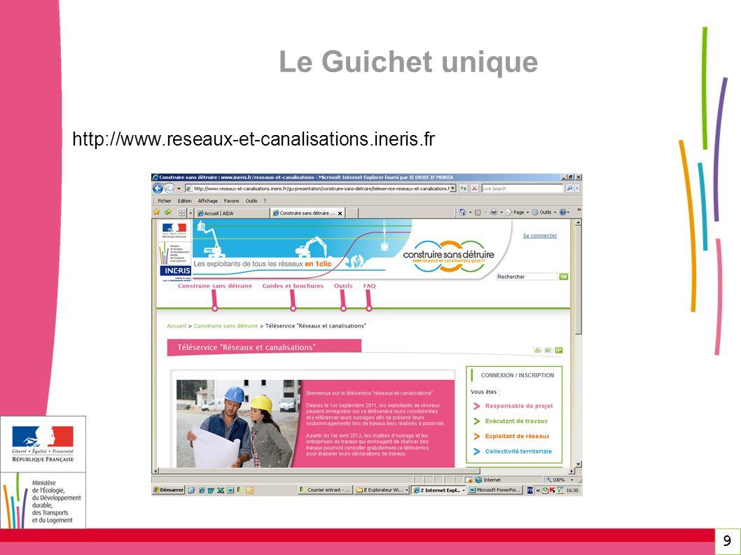 9 Le Guichet unique http://www.reseaux-et-canalisations.ineris.fr