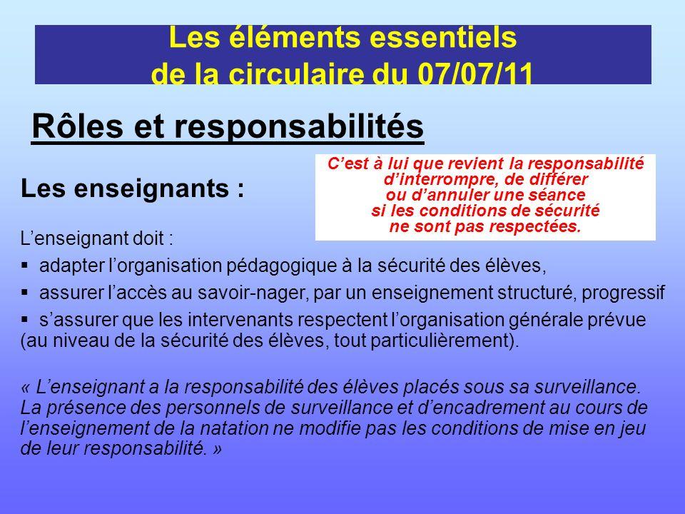 Les enseignants : Lenseignant doit : adapter lorganisation pédagogique à la sécurité des élèves, assurer laccès au savoir-nager, par un enseignement s