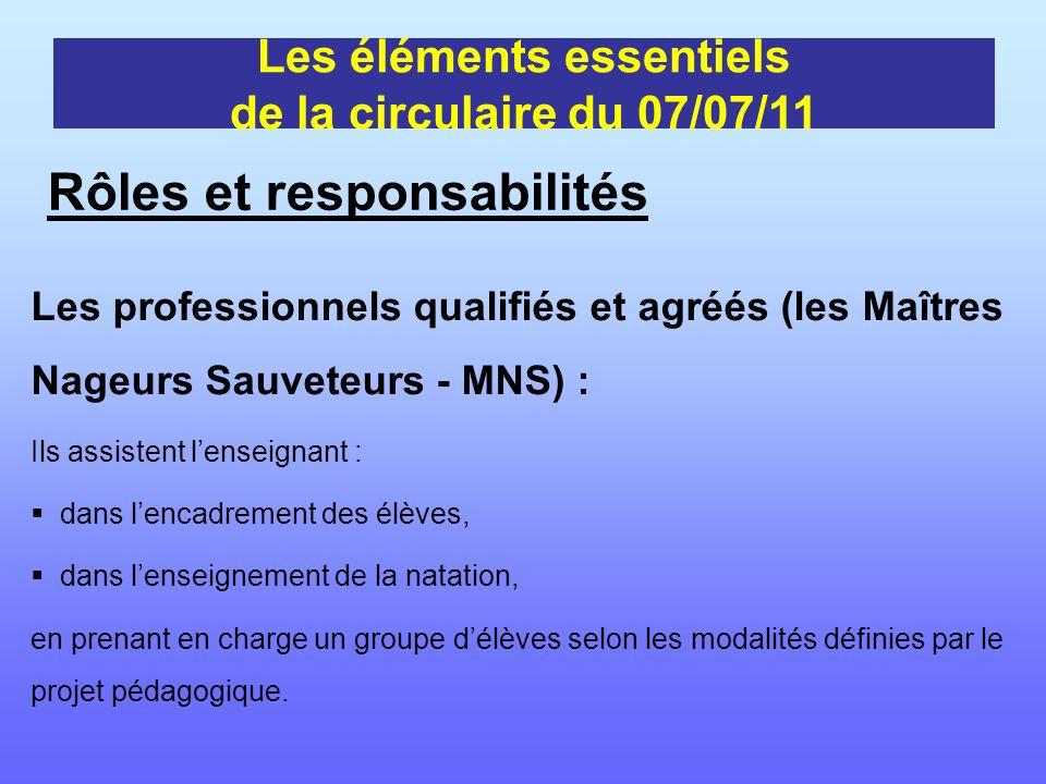Les professionnels qualifiés et agréés (les Maîtres Nageurs Sauveteurs - MNS) : Ils assistent lenseignant : dans lencadrement des élèves, dans lenseig