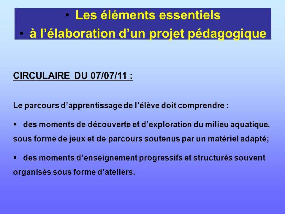 Les éléments essentiels à lélaboration dun projet pédagogique CIRCULAIRE DU 07/07/11 : Le parcours dapprentissage de lélève doit comprendre : des mome